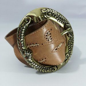 Cole Haan Wide Leather Belt Size M Tooled Woven